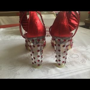 YSL, Red,high heels,ankle,leather,clear heels, 688